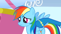 A wonderbolt poking Rainbow's shoulder S1E16