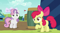 Apple Bloom and Sweetie Belle hears Orchard Blossom S5E17