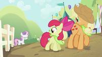 Applejack and Apple Bloom looking at Sweetie Belle 2 S2E05