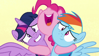 Pinkie Pie hugging Twilight and Rainbow S7E14