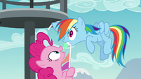 Pinkie pulls Rainbow Dash closer S5E24