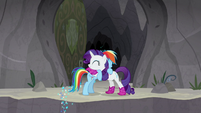 Rainbow Dash and Rarity hugging S8E17