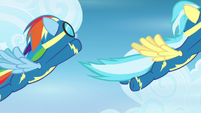 Rainbow Dash flying in formation S6E7