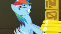 Rainbow Dash struggling to lift rings S4E04