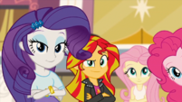 Rarity, Sunset, Fluttershy and Pinkie listening to Twilight EG2