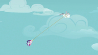 Rarity and Pinkie being carried away S2E02