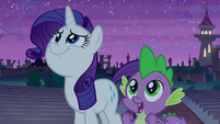 Rarity and Spike admiring the fireworks S9E17