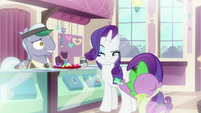 Rarity looking suspiciously at jewelry pony S9E19