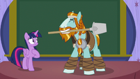 Rockhoof with shovel in his mouth S8E21