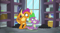 Smolder slaps Spike on the back S8E11