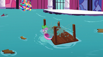 Spike throwing water frantically S5E10