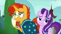 Sunburst and Starlight roll their eyes at Firelight S8E8