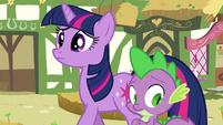 Twilight and Spike hearing Pinkie S3E03