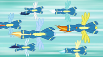 Wonderbolts flying through the air S6E7