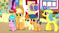 AJ and ponies disappointed by cannon blast S8E18