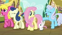 Angel shrugging at Fluttershy S9E13