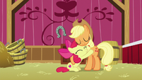 Applejack and Apple Bloom hugging S9E10