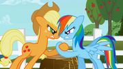 Applejack and Rainbow Dash hoof wrestling S1E03