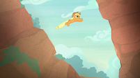 Applejack jumping over a ravine S8E23