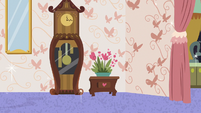 Clock, flowers, and butterfly wallpaper S7E12