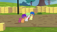 Cutie Mark Crusaders near the finish line S6E14