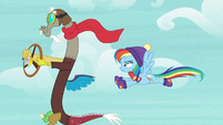 Discord flying alongside Rainbow Dash MLPBGE