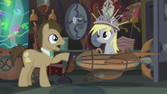 Dr. Hooves talking while Derpy is brought down to the floor S5E9