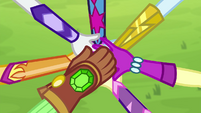 Equestria Girls stack their hands on top of each other EG4