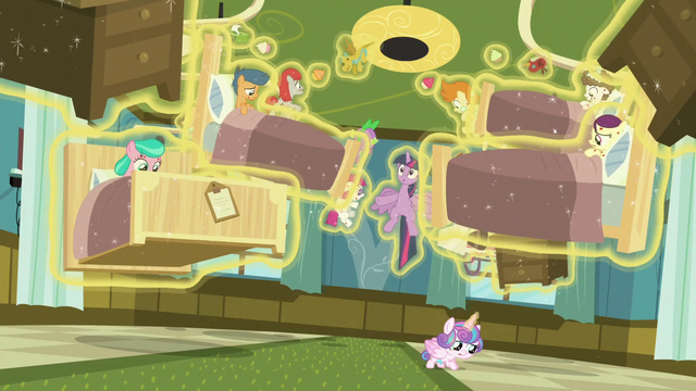 File:Flurry Heart levitating ponies and hospital beds S7E3.png