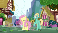 Fluttershy and Zephyr hear a whooshing sound S6E11
