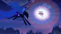 Nightmare Moon approaches Princess Celestia S4E2