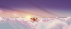 Orange Pegasus flying over the clouds MLPTM
