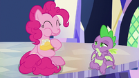 Pinkie happily eats the fake cupcake S9E14