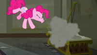Pinkie sneezes, blowing the dust to the air S6E9
