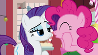 Pinkie squishing her cheeks at Rarity BGES2