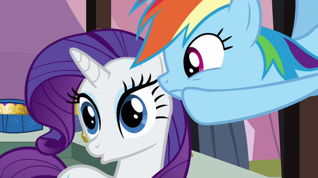 File:Rainbow Dash whispering to Rarity S3E2.png