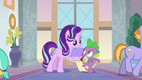 Starlight Glimmer and Spike organizing S8E1