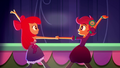 Apple Bloom and Scootaloo finish dancing SS3.png