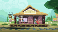 Discord, Spike, and Big Mac wave goodbye to Mane Six S6E17