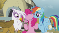 "Pinkie Pie in tears ""hugging now!"" S5E8"