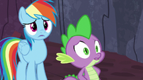 Rainbow Dash and Spike hear Garble's voice S7E25