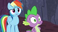 Rainbow Dash and Spike hear Garble's voice S7E25