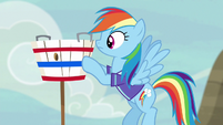 Rainbow Dash sets up the goal basket S6E18
