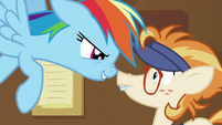 Rainbow gets in the Attendant Pony's face S7E2
