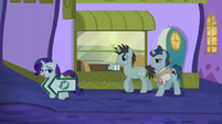 Rarity leads stallions toward The Tasty Treat S6E12