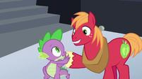 Spike and Big Mac claw-hoof-bump S6E17