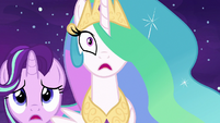 Starlight and Celestia surprised by Daybreaker's attack S7E10