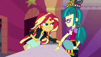 Sunset Shimmer grabs Juniper Montage's arm EGS3