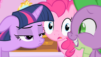Twilight's reaction to Spike's crush on Rarity S1E20