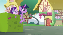 Twilight and Starlight watch Rarity run away S7E14